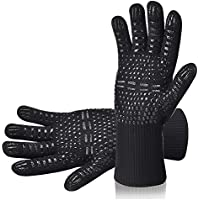 AOMEES Grillhandschuhe Ofenhandschuhe - Hitzebeständig BBQ Handschuhe 500 ° C / 932 ° F 1 Paar: Rutschfeste Perfekt zum Kochen Grill & Feuerplatz Zubehör Backhandschuhe mit EN407 Zertifizierte