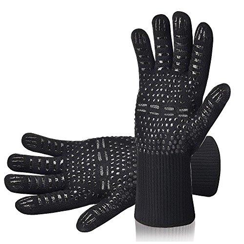 AOMEES Grillhandschuhe Ofenhandschuhe - Hitzebeständig BBQ Handschuhe 500 ° C / 932 ° F 1 Paar: Rutschfeste Perfekt zum Kochen Grill & Feuerplatz Zubehör Backhandschuhe...