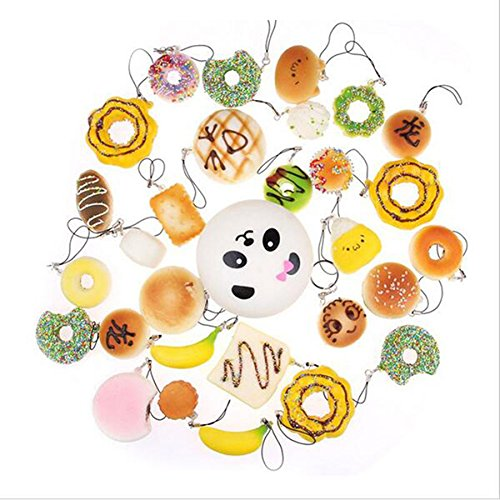 ROSENICE Kawaii Mini weiche Foods Panda Brot Brötchen Toast Multi Donuts Phone Straps Charme-Geschenk - 30 Stücke
