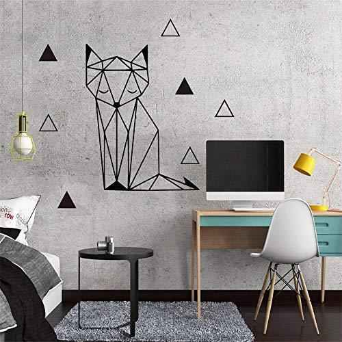 Hübsche Fuchs Geometrie Wandaufkleber Entfernbare Aufkleber DIY Tapete Für Kinder Baby Zimmer Home Schlafzimmer Dekor Wandtattoo in gelb Vinyl Wandbild XL 58 cm x 67 cm
