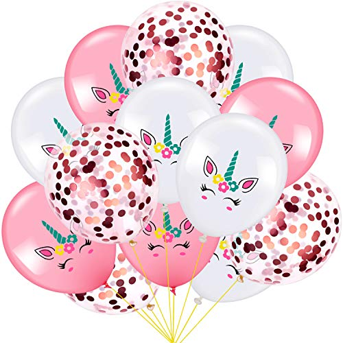 60 Stücke Einhorn Luftballons Satz Einhorn Geburtstag Party Dekoration Luftballons und Rose Gold Konfetti Luftballons für Party Hochzeit Gefälligkeiten