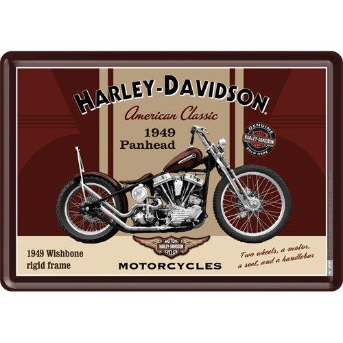 Nostalgic-Art 10198 Harley-Davidson - Panhead, Blechpostkarte 10x14 cm