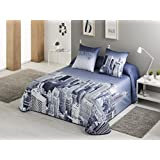 Textilhome - Colcha Bouti estampada NEW YORK Cama 150 cm. Color Azul