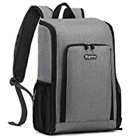 Bagmine Insulated Cooler Backpack 17 Liter Foldable Leakproof Cooler Lunch Bag Lightweight Waterproof Thermal Cooler Bag for Picnic Hiking Beach BBQ Lunch Park Gray