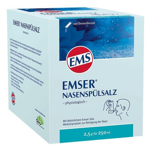 Emser Nasenspülsalz physiologisch - Nasendusche bei Erkältung, Allergie und zur Nasenpflege - 100 x 2,5 g Beutel