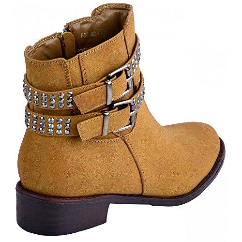 Kick Footwear - Signore zip scarpe comode Stivali piatti , ankle boot Tan