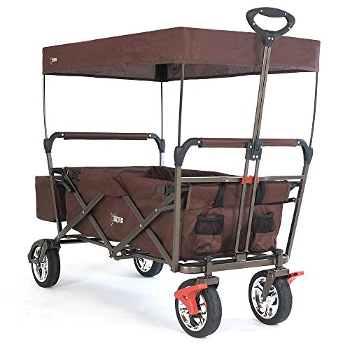 FUXTEC faltbarer Bollerwagen FX-CT500 braun klappbar mit Dach, Vorderrad-Bremse, Vollgummi-Reifen, Hecktasche, für Kinder geeignet  Das Original mit GS-Prüfsiegel geprüfte Qualität !