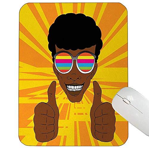 Afro-Unterstützung Mausunterlage Glücklicher Hippie-Mann mit der bunten Sonnenbrille, die Seine Daumen anhebt Retro Positive Schwingungs-Spiel-Mausunterlage Mehrfarben herein,Gummimatte 11,8