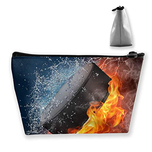 Ice Hockey Fire Medium Cosmetic Makeup Bag Travel Pouch Carry Case -