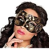 b205c7c5f NET TOYS Máscara con Engranajes Estilo Steampunk | Dorado-Negro |  Extraordinario Accesorio Unisex Antifaz