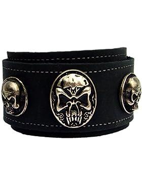 Lederarmband 4,7cm breit XXL Nordic Skull Head Farbe schwarz
