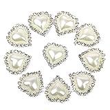 VORCOOL 10er Herzform Perle Strass Button Flatback Verschönerung (weiß)