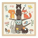PHOTOLINI Kinder-Poster mit Bilderrahmen Natur 'Waldtiere' 30x30 cm Kinderzimmer-Poster Bunt Lernposter Tiere Natur