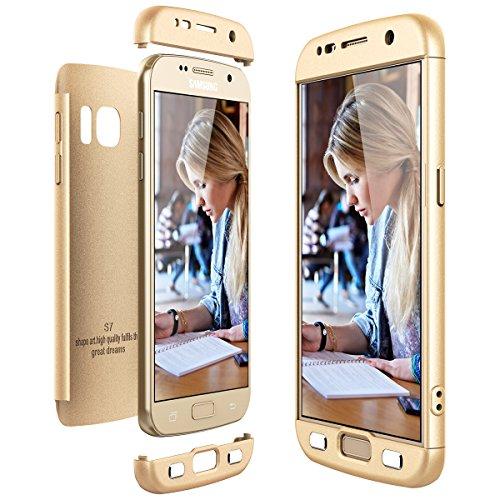 CE-Link für Samsung Galaxy S7 Hülle Hardcase 3 in 1 Handyhülle 360 Grad Full Body Schutz Schutzhülle Anti-Kratzer Bumper - Gold - Links Hand Rose