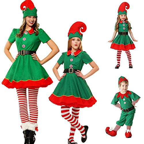 Weihnachtskostüm, Polyester, Elfe niedlich, einzigartiges Kostüm, Cosplay, kleines Kleid für Männer/Frauen/Kinder/Eltern-Kind-Kleidung, Weihnachts-Party-Zubehör 100 cm Männer