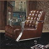Phoenixarts Vintage Vera Pelle Poltrona Acciaio Inossidabile Poltrona in Pelle Marrone Design Divano Lounge Mobili Nuovo 448