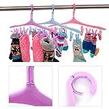 zhouba 8Clips Kunststoff Candy Farbe Socken 360° Rotation Kleiderbügel Haken Home Trockner, plastik, Zufällige Farbauswahl, Einheitsgröße