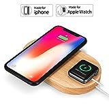 Rhidon wireless caricatore 2in 1legno Apple Watch dock, Qi wireless Pad di ricarica rapida per iPhone x/iPhone 8/iPhone 8Plus e altri dispositivi compatibili QI