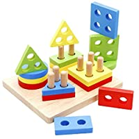 Reasoncool Building Blocks Toys, Baby Kids Wooden Pole Geometry Shape Intellige Toy Wooden Building Block Toy Wisdom Development Puzzle Educational Toy Child Gift