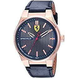 Ferrari Men's 'SPECIALE 3H' Quartz Gold and Leather Casual Watch, Color:Blue (Model: 0830416)