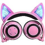 Casque Bluetooth sans fil avec micro et contrôle du volume, casque oreilles de chat lumineuses à LED pour iPhone 7/6S/iPad, lecteur MP3, MP4, phone portable Android, MacBook