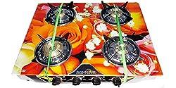 Suraksha Shine Stainless Steel Body With Toughened Digital Design Glass Top 4 Tri Pin Brass Burner Manual Gas Stove (Rose Orange Design)