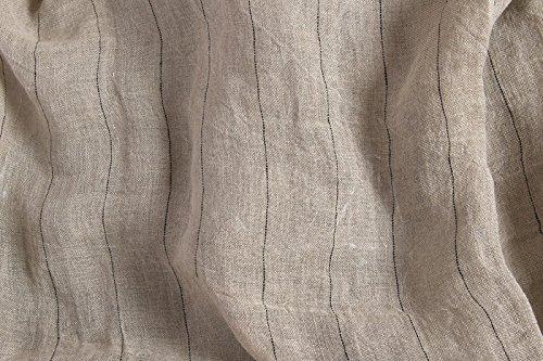 Prelavati puro lino lino tessuto al metro–grigio–trasparente–larghezza 145cm (144,8cm)–140gsm ammorbidito textile–a righe
