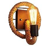 Amerikanische Wandlampe Nachttisch Lampe Wand hängende Lampe Schlafzimmer Retro kreative Treppen Lichter Gänge Pastorale Eisen Hanf Wandleuchten (design : 2)