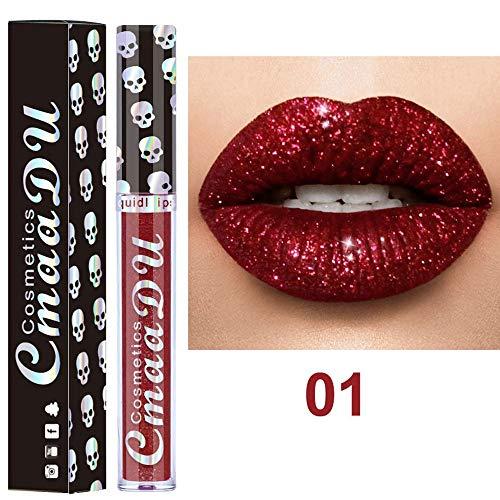 Lippenstift,IMJONO 2019 Jubiläum Göttin lippenstift 8 Farben Nude Metallic Matte Velvet Glossy Lipgloss Lipstick Lip Cream(one size,Mehrfarbig-A)