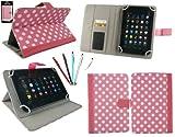 emartbuy Packung mit 5 Doppelfunktion Eingabestift +Universalbereich Polka Dots Hot Rosa/Weiß Folio Wallet Tasche Etui Hülle Cover mit Kartensteckplätze Geeignet für I.onik TP - 1200QC(7.85 Zoll)