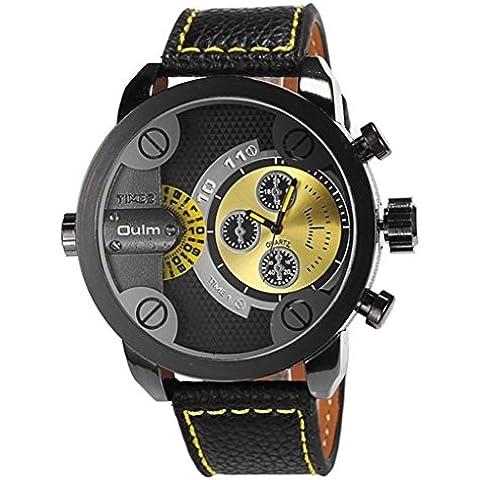 downj Hombres Japón reloj de cuarzo doble muestra analógica reloj de pulsera banda de cuero negro