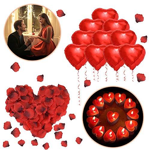 Kit Romántico de Velas y Pétalos, ASANMU Set de Deco para el Día de San Valentín 50 Velas en Forma de Corazón + 1000 Pétalos de Rosa + 10 Foil Globos Corazón Rojo Decoración para Bodas y Compromiso
