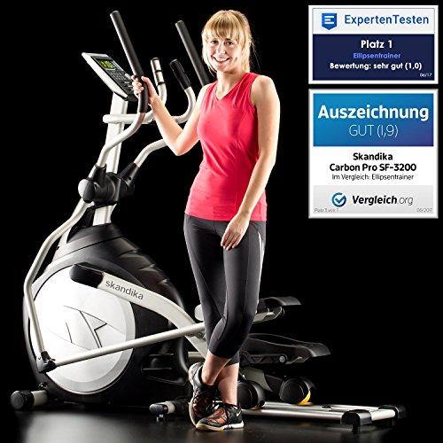 Skandika Crosstrainer CardioCross Carbon Pro SF-3200, 23,5 kg Schwungmasse, wartungsarmes Bremssytem über Magnettechnologie, Transportrollen, Kalorienverbrauch, Zeit und und Pulsmessung - 2