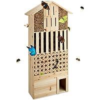 Relaxdays Hôtel à insectes en bois XXL abri abeilles papillon jardin balcon hérisson HxlxP: 118 x 57 x 24 cm, nature