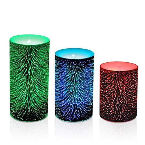 Hoovo Lot de 3 Bougies à Led Feu D'artifice Eclairage Minuteur limentation par Piles pour Mariage Fête Anniversaire Cadeau Soirée Maison