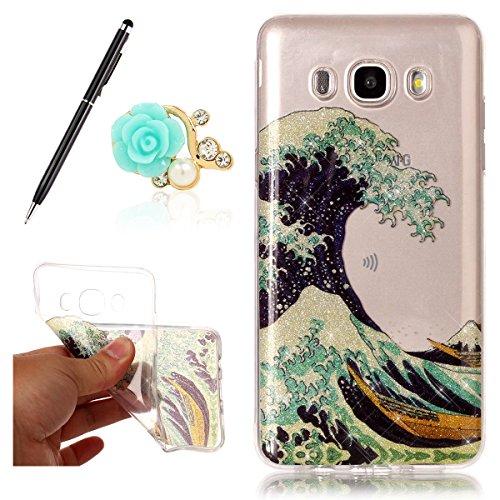 Uposao Bling Soft Silikon TPU Hülle für Samsung Galaxy J5 (2016) Handyhülle Schutzhülle Etui Schale Schutz Backcover mit Crystal Bunt Strass Meereswellen Muster Design