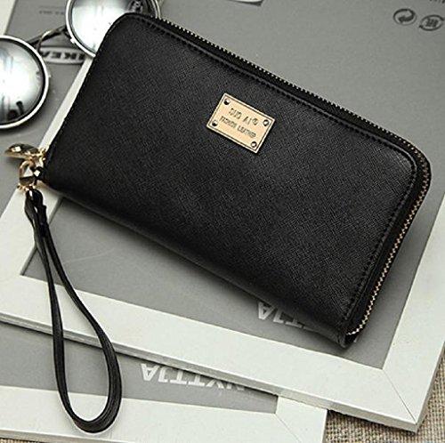 Borsa Familizo Elegant Signora Women borsa della frizione Portafoglio Holder Piccolo sacchetto della carta Nero