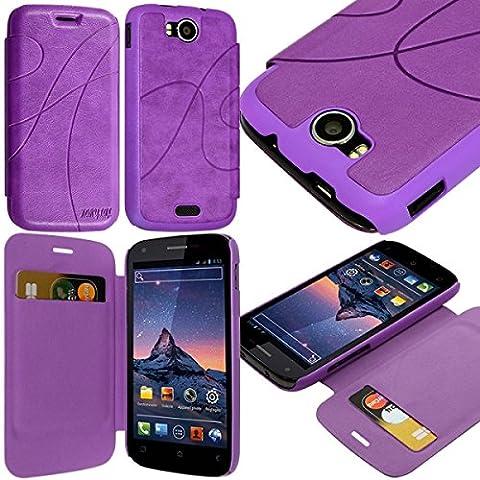 Seluxion - Coque Housse Etui à rabat latéral et porte-carte pour Wiko Cink Peax / Peax 2 couleur Violet