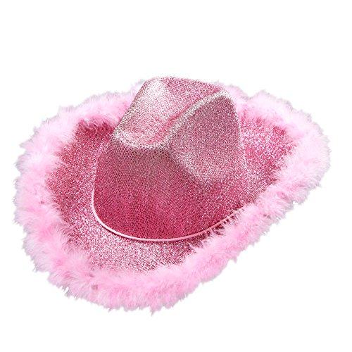 Widmann 0076P - Hut für Cowgirl mit Lurex und Marabufedern, One Size