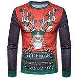 SEWORLD Weihnachten Christmas Herren Männer Herbst Winter Weihnachten Weihnachten Drucken Top Männer langärmelige T-Shirt Bluse(X1-2-rot,EU-52/CN-XL)