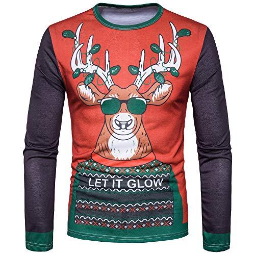 Mrs Kostüm Claus Babys - SEWORLD Weihnachten Christmas Herren Männer Herbst Winter Weihnachten Weihnachten Drucken Top Männer langärmelige T-Shirt Bluse(X1-2-rot,EU-54/CN-XXL)