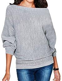 f11490db1331 Herbst Winter Damen Volltonfarbe Uboot Ausschnitt Pullover Strickpulli Sweater  Fledermausärmel Loose Pulli Blusen Tops Sweatshirt