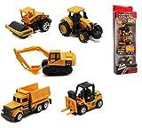 Conjunto de 5 Mini camiones de construcción, Excavadoras, Camiones de volteo, Bulldozers, Cargadoras de ruedas, Montacargas - Paquete de juguetes para vehículos
