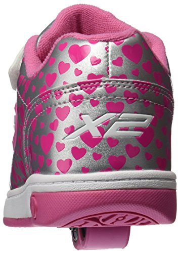 Heelys X2 Dual Up, Chaussures de Tennis Fille Argent (Silver / Hearts)