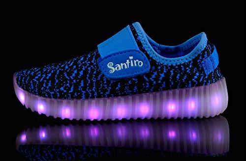 Santiro Chaussures à LED unisexe à recharge USB Bleu Marine