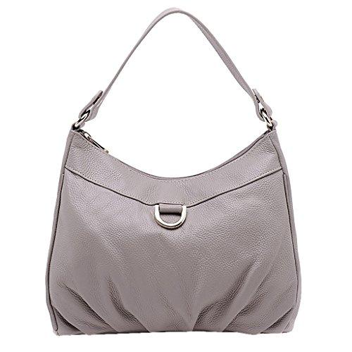 Mena UK Sacchetto di cuoio della borsa delle borse della spalla di retro della borsa di cuoio molle del progettista di cuoio della signora Vintage ( Colore : Nero , dimensioni : 29cm*8cm*24cm ) Grigio