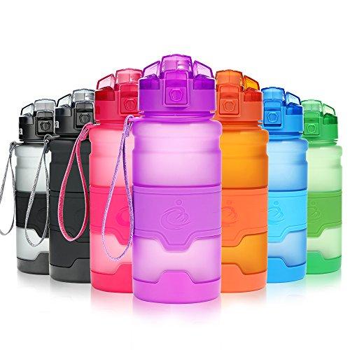 Grsta Sport Trinkflasche, 700ml/24oz - BPA frei Tritan Kunststoff Wasserflasche, Auslaufsicher Sporttrinkflaschen für Laufen, Yoga, Fahrrad, Kinder Schule, Wasser Flaschen mit Sieb (Lila)