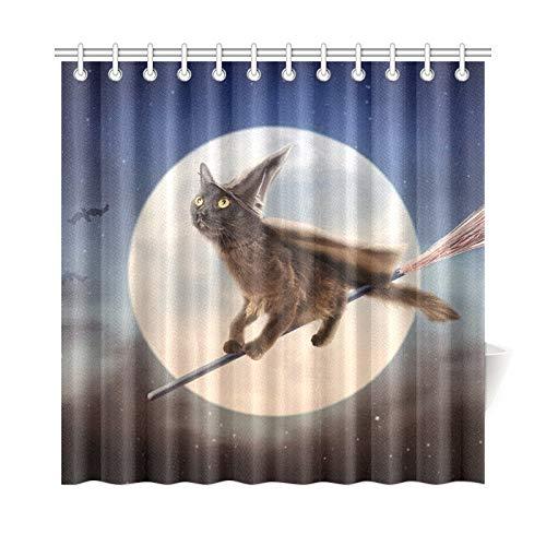 (JOCHUAN Wohnkultur Bad Vorhang Nette Schwarze Katze Gekleidet Halloween Hexe Polyester Stoff Wasserdicht Duschvorhang Für Badezimmer, 72 X 72 Zoll Duschvorhänge Haken Enthalten)