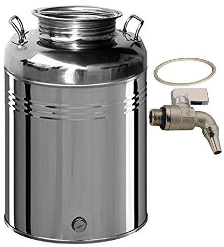 Contenitore fusto bidone olio Inox 18/10 Belvivere 30 lt made in Italy completo di rubinetto e guarnizione