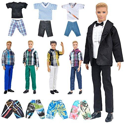 E-TING Lot 10 Artikel 5 Sets Fashion Casual Wear Kleidung mit 5 Paar Schuhe für Ken Doll Random Style , Ken Casual Wear Kleidung - Schwarzer Anzug - Bademode